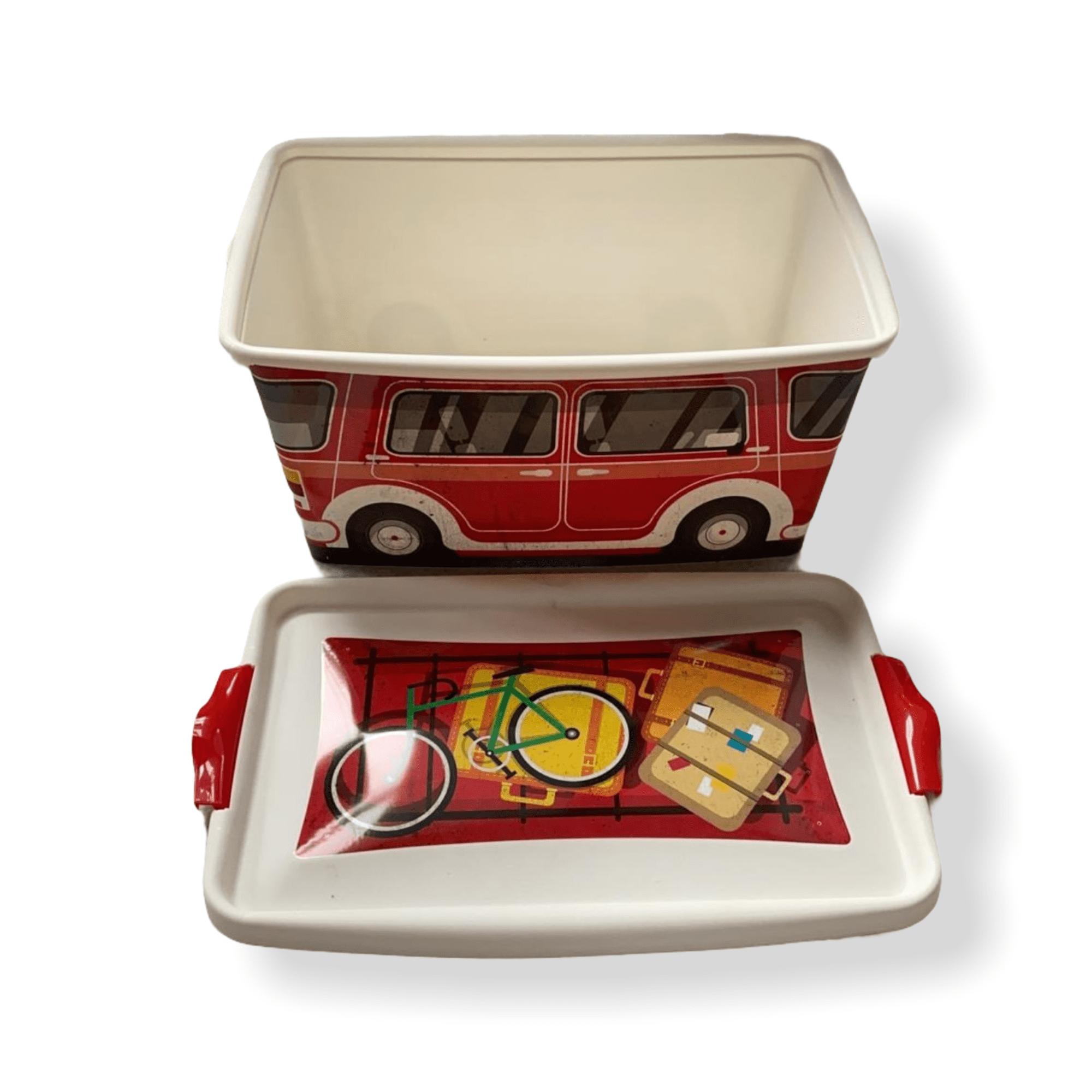 """Clipbox """"VW-Bus"""" rot  13 L mit Deckel"""