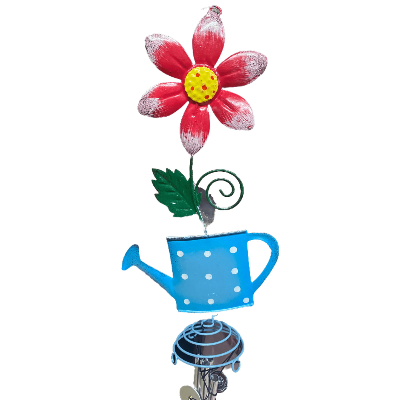 Windspiel Blume mit Gießkanne blau