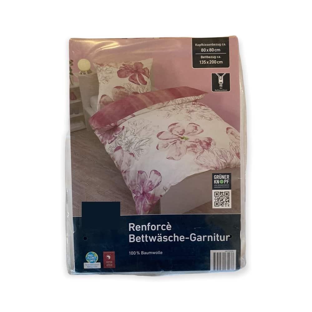 Renforcè Bettwäsche-Garnitur - rosa Blumen