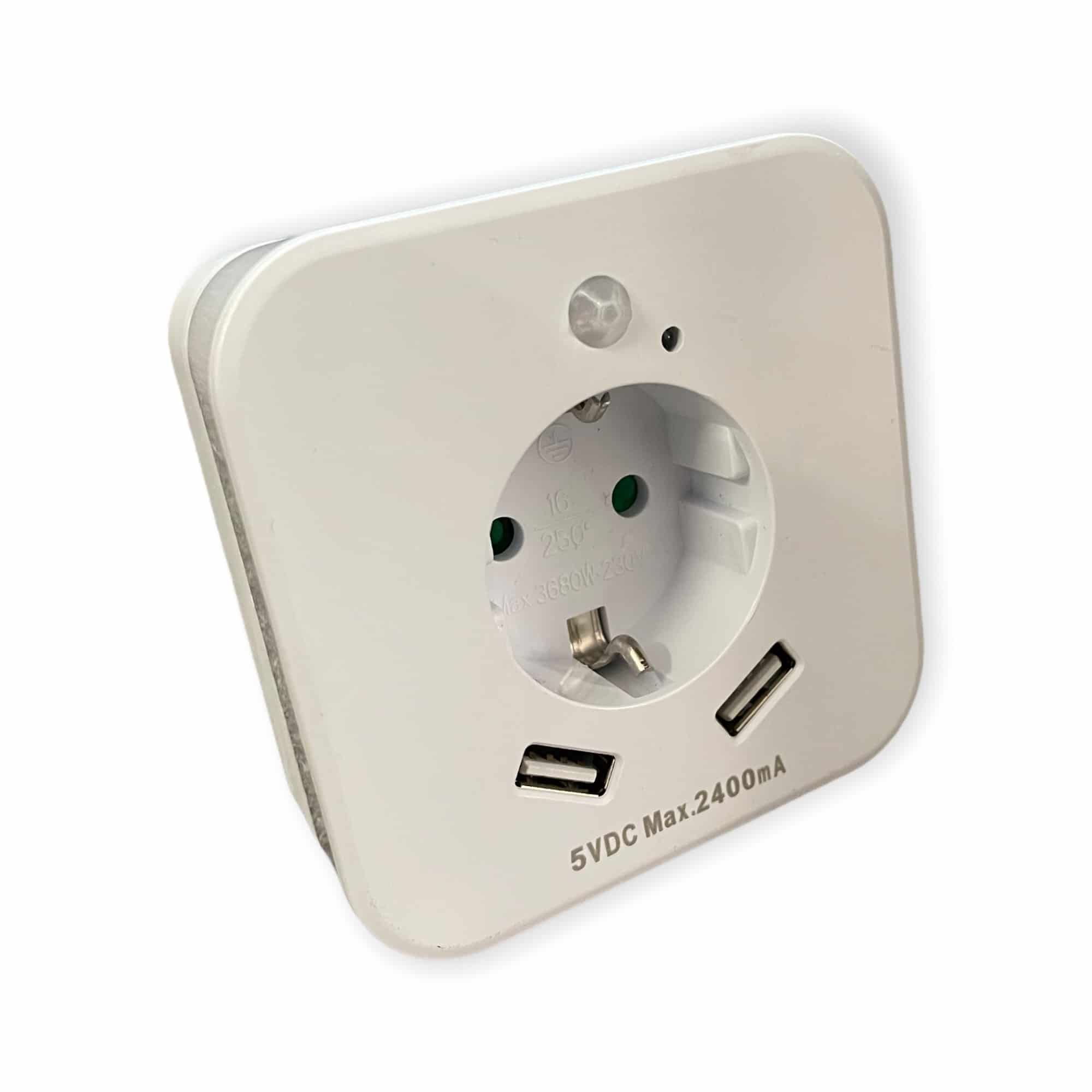 LED-Steckdose mit USB-Anschlüssen