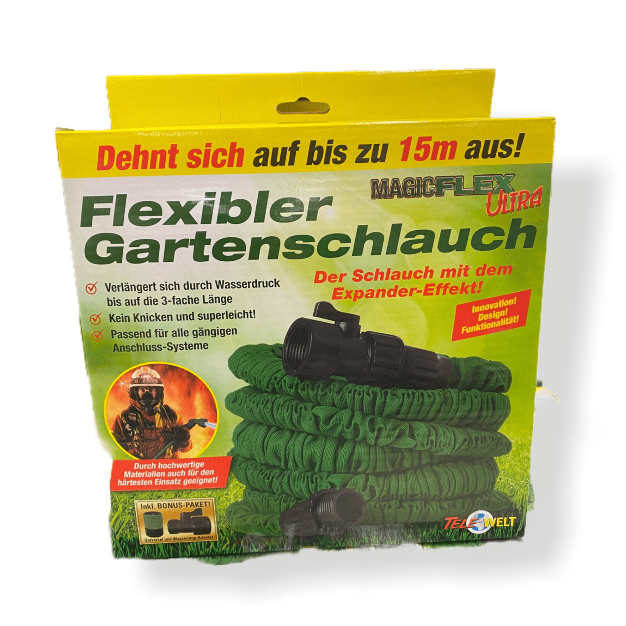 Flexibler Gartenschlauch 15 m inkl. Universal- und Wasserstopp-Adapter