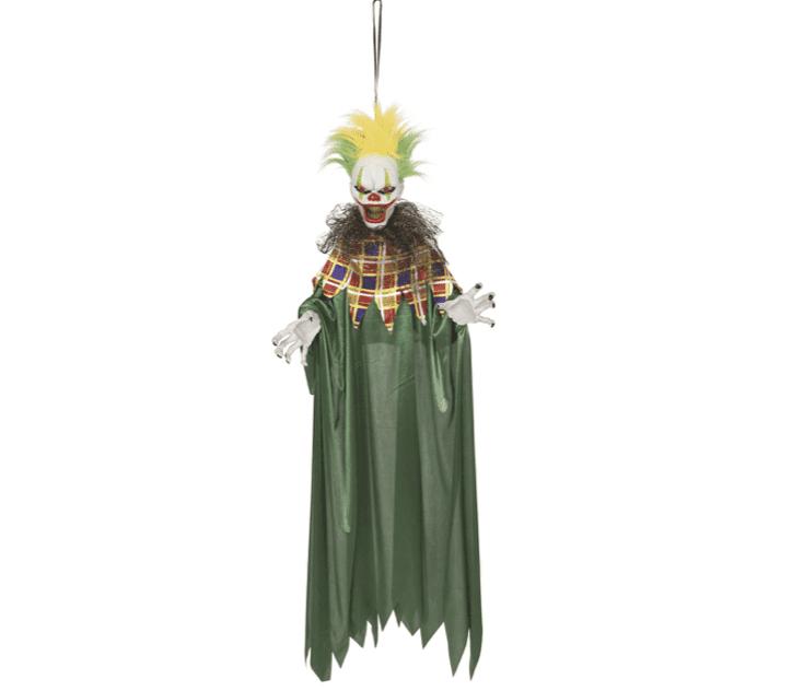 Animierter Clown mit grün-gelbem Haar zum Aufhängen
