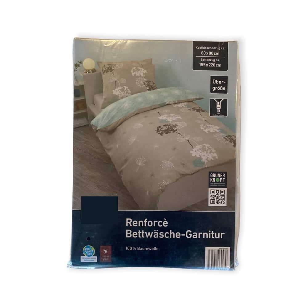 Renforcè Bettwäsche-Garnitur - Blumen grau