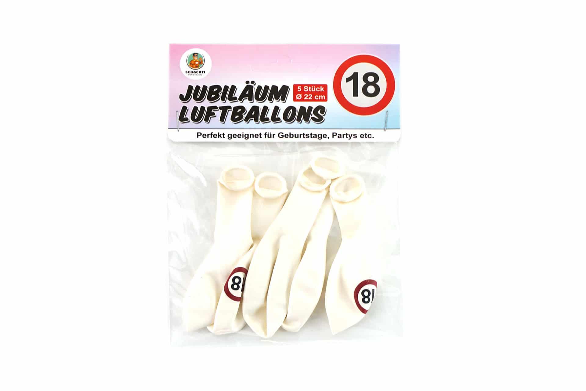 "5er-Pack Luftballons Jubiläum ""18"""