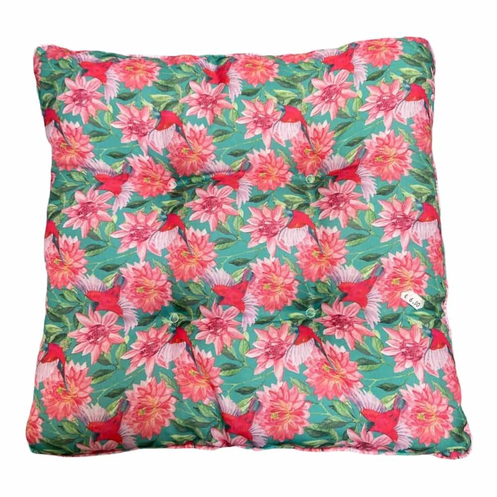 Sitzkissen mit Blumenmotiv 50x50 cm