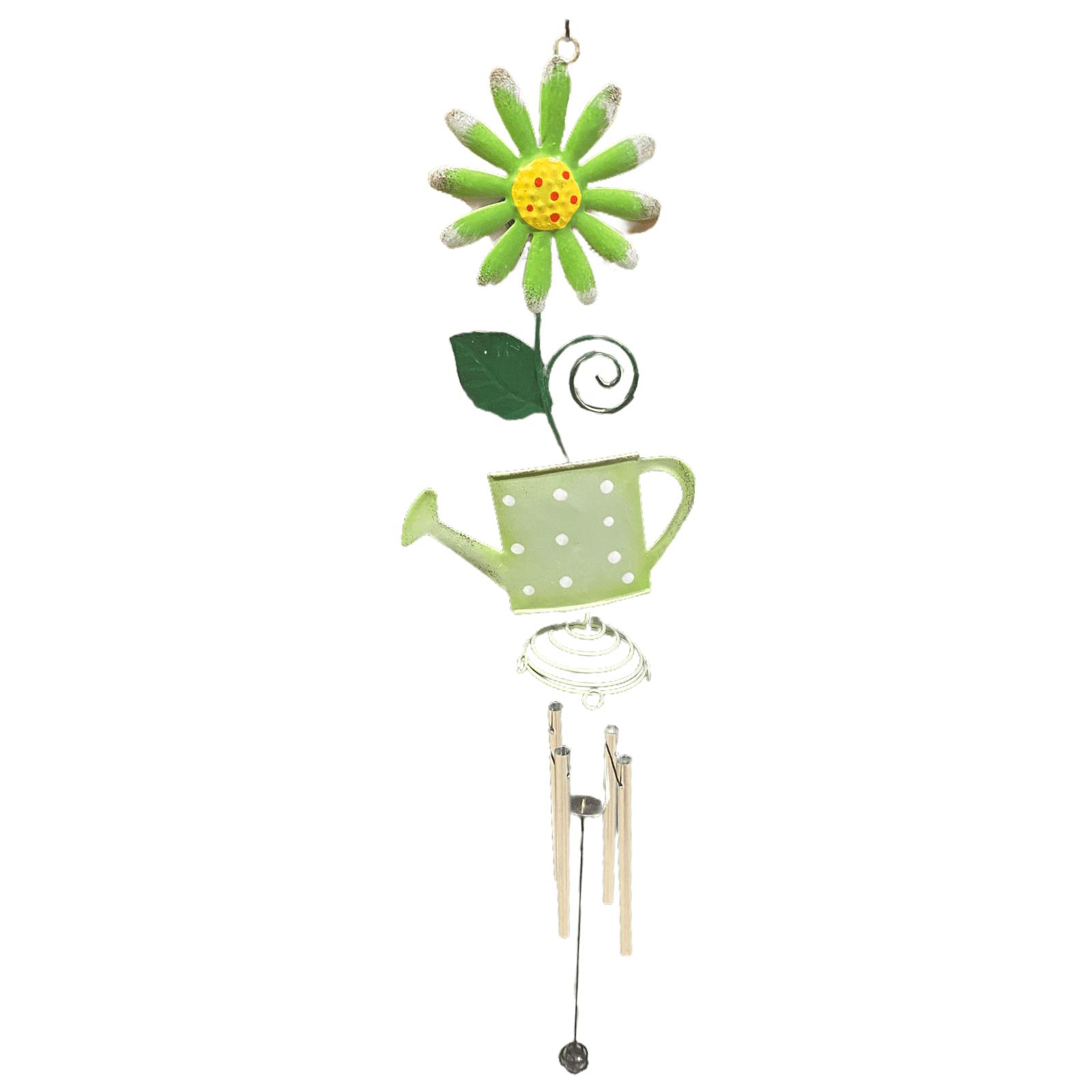 Windspiel Blume mit Gießkanne grün