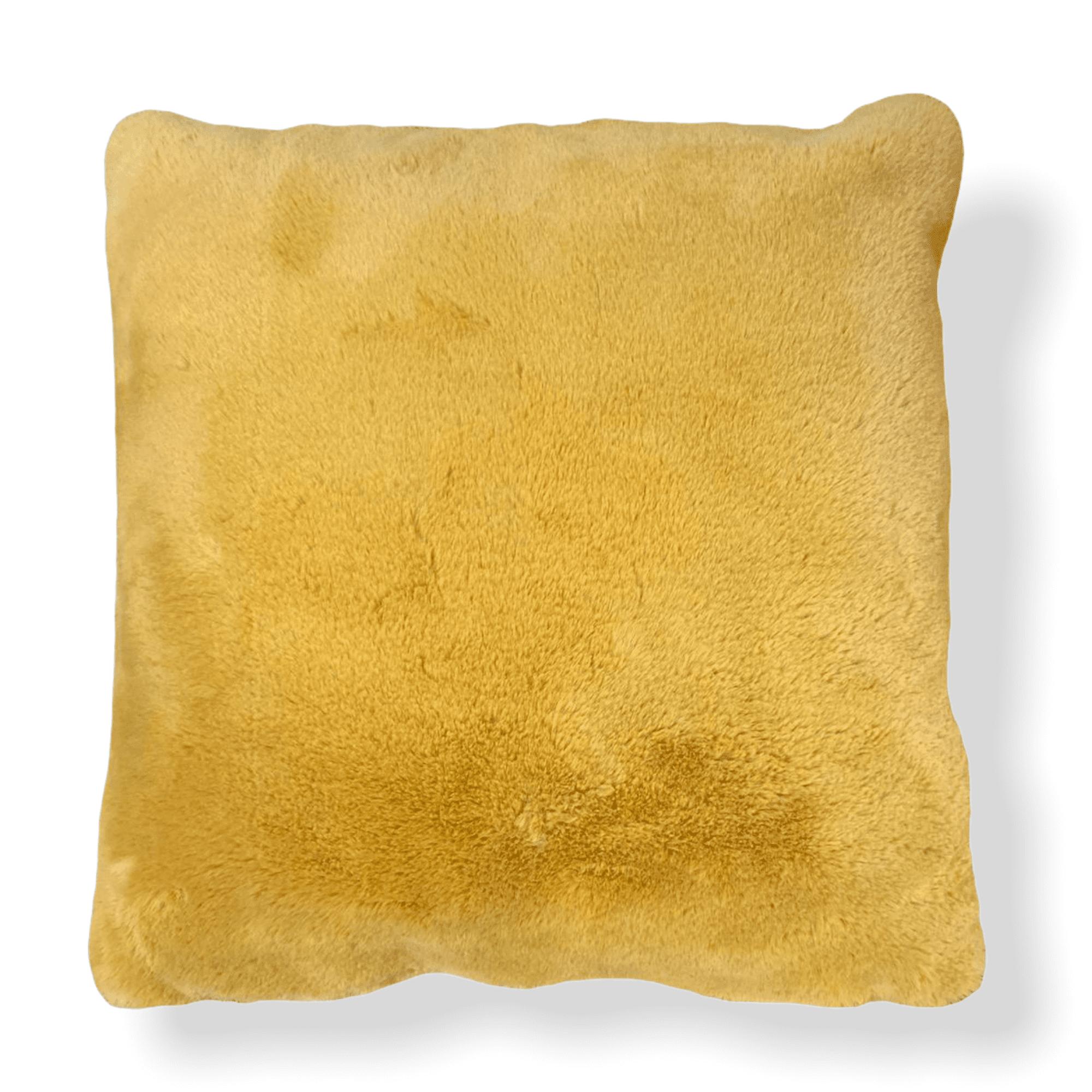 Gelbes Plüschkissen 45x45 cm