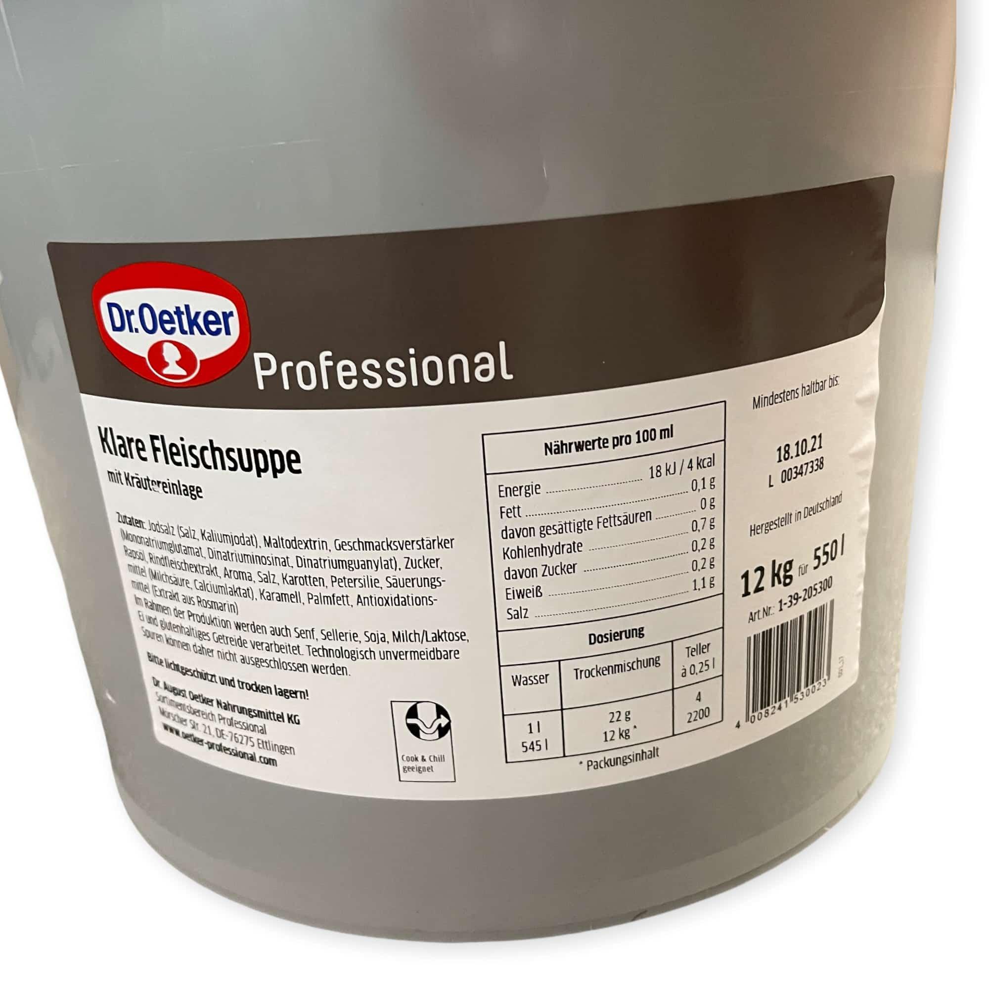 Dr. Oetker Professional Klare Fleischsuppe 12 kg