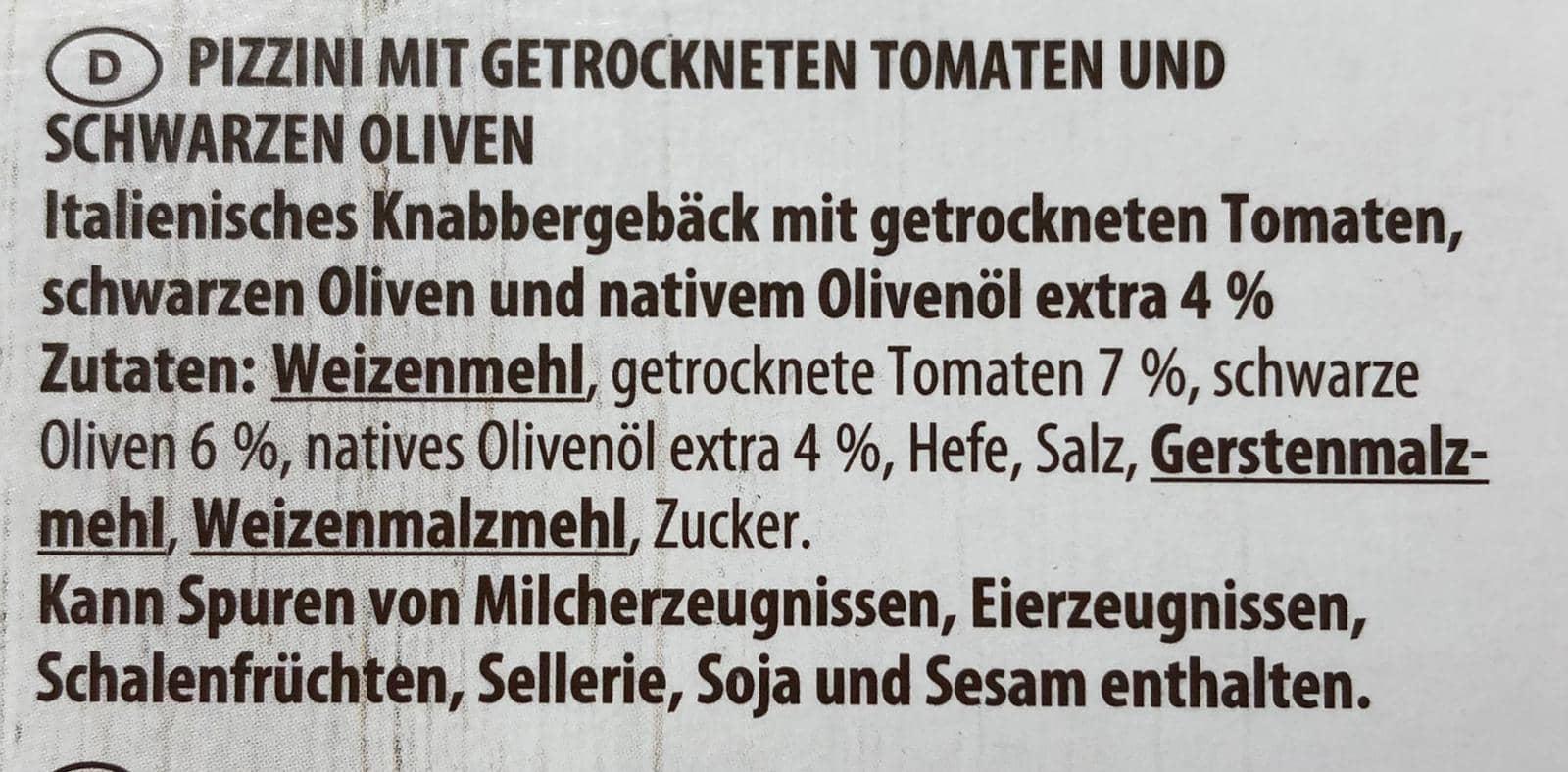 Pizzini Tomate und schwarze Oliven 100g