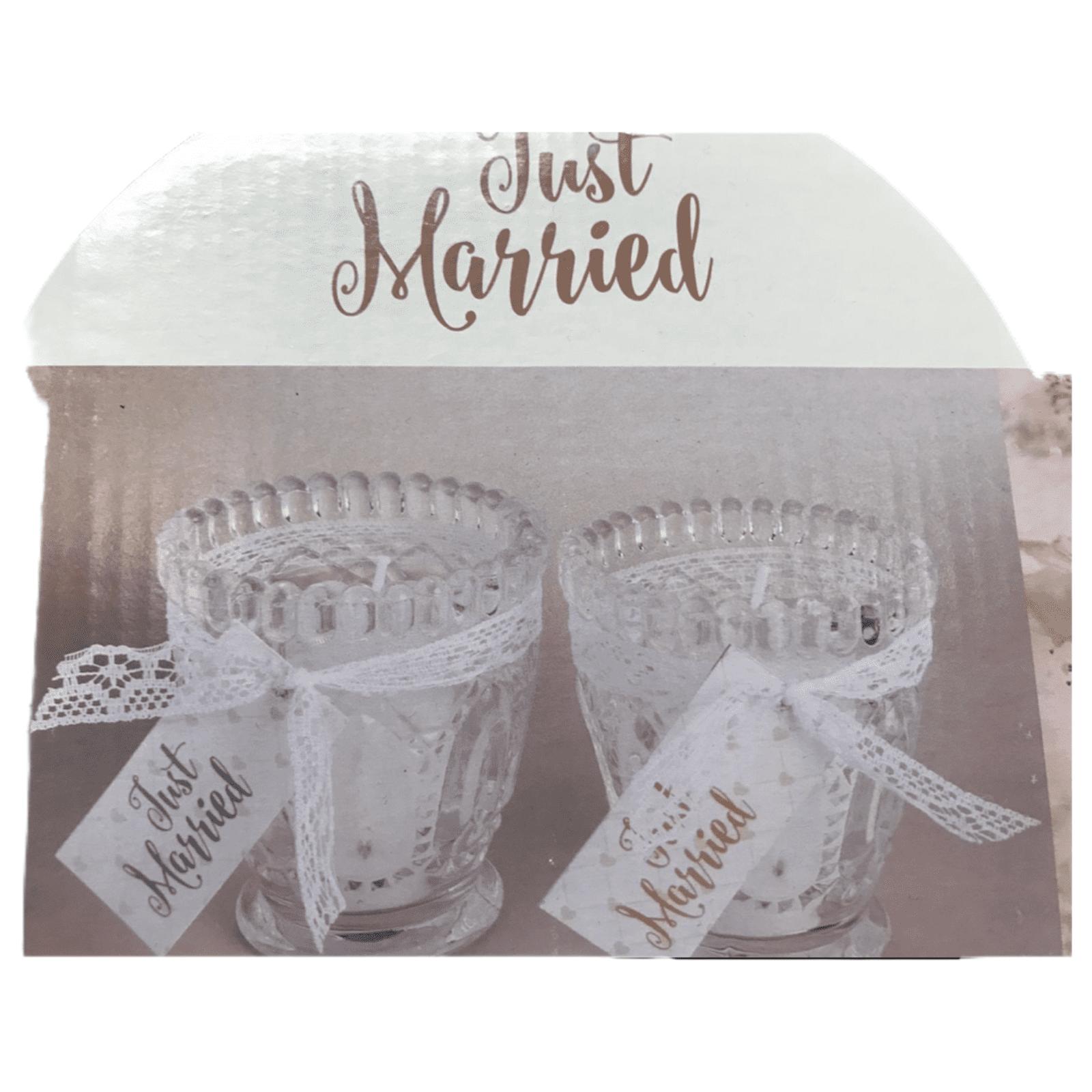 """Teelichthalter mit Kerze """"Just Married"""""""