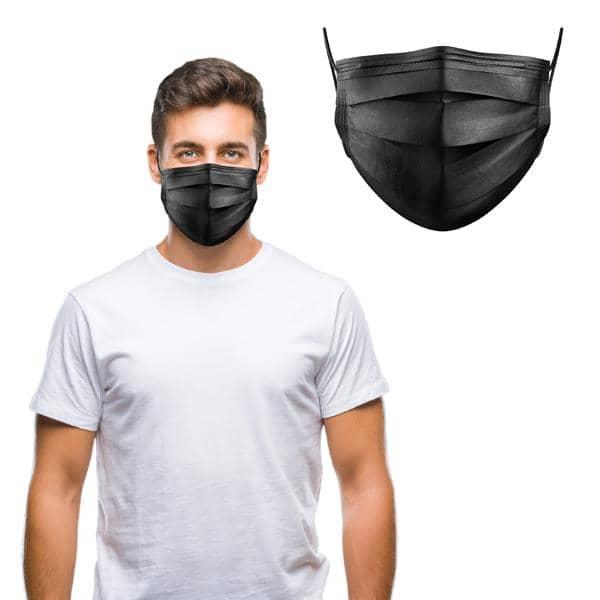 10er Set OP - Mund-/Nase Schutzmasken 3-lagig schwarz