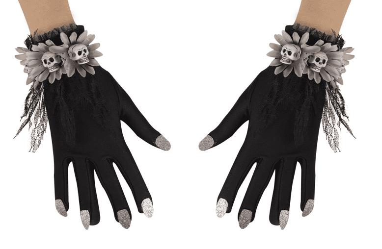 Schwarze Handschuhe mit silbernen Nägeln + Totenköpfen