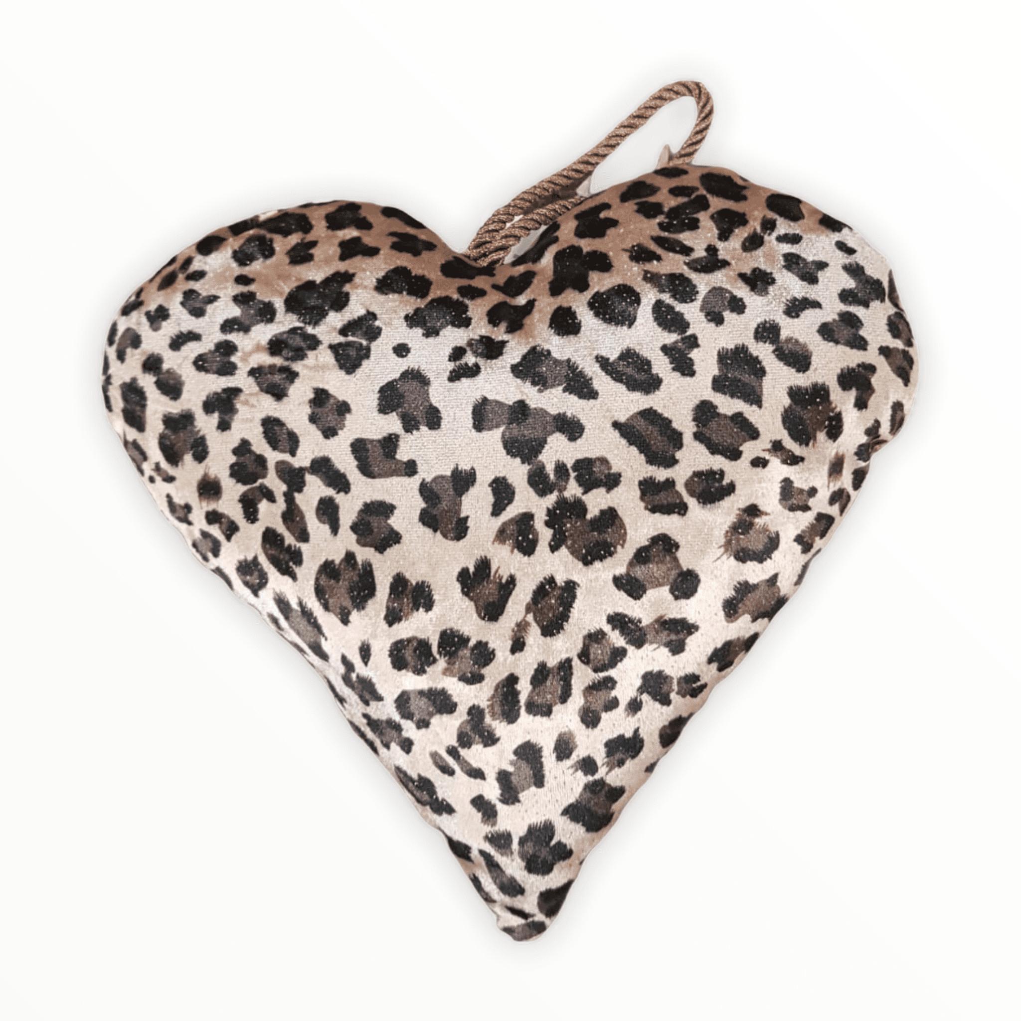 Samtherz mit Leoparden-Muster