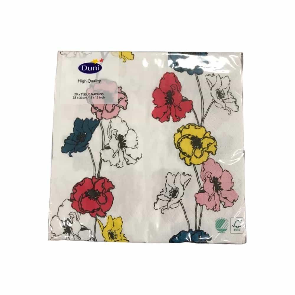 20er-Pack Duni Servietten - Weiß mit Blumen