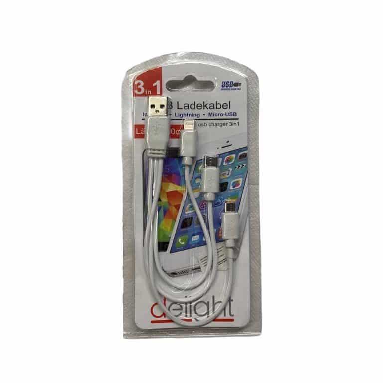3in1 USB-Ladekabel - iPhone Lightning, Type C und Micro USB