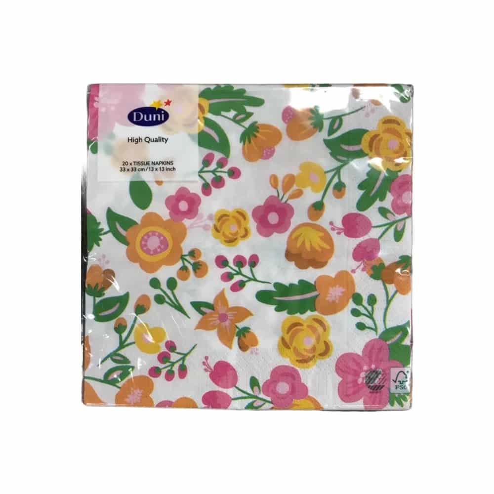 20er-Pack Duni Servietten - weiß mit bunten Blumen