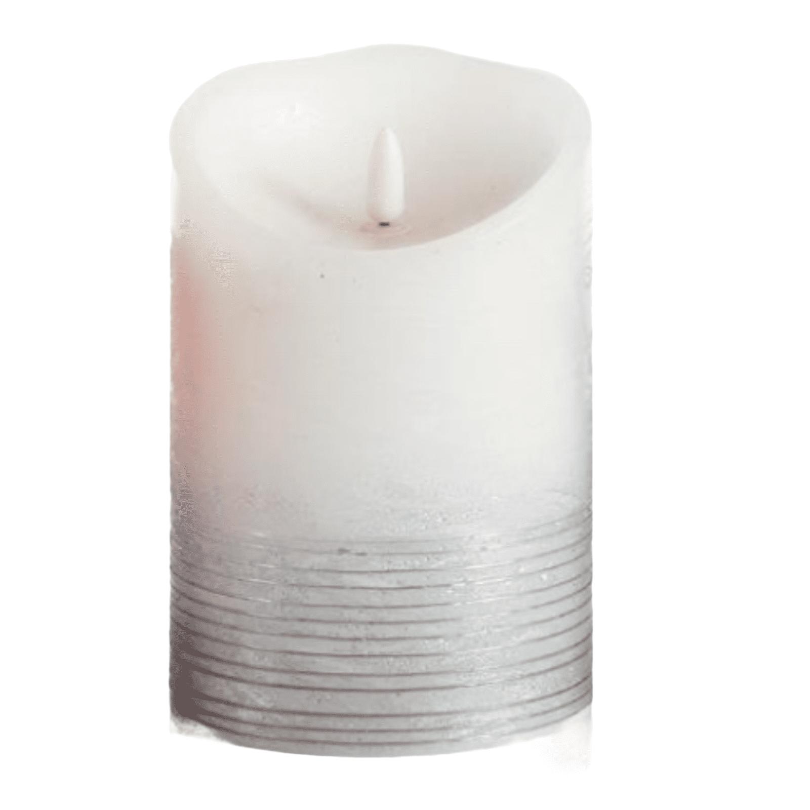 "3D LED Kerze ""GLACE"" weiß-silber"