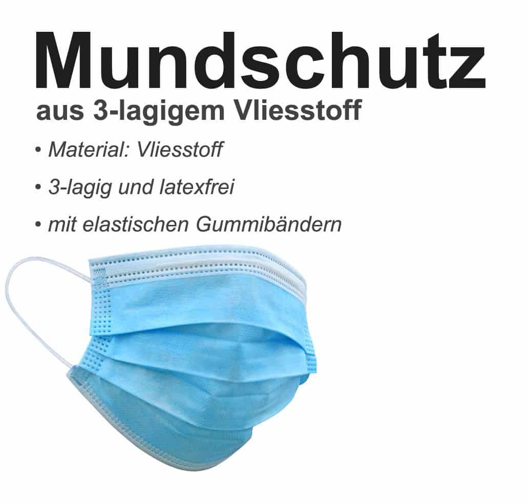 10er Set OP - Mund-/Nase Schutzmasken 3-lagig, blau