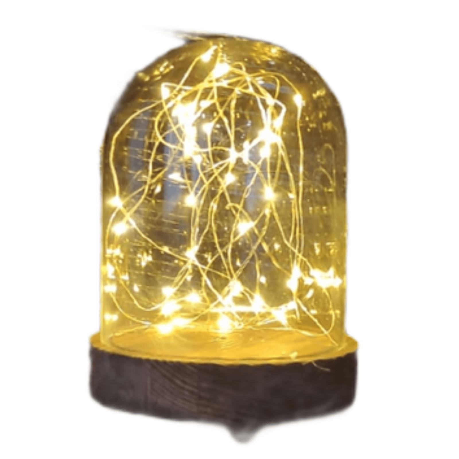 40er-LED Glaskuppel auf Holzsockel