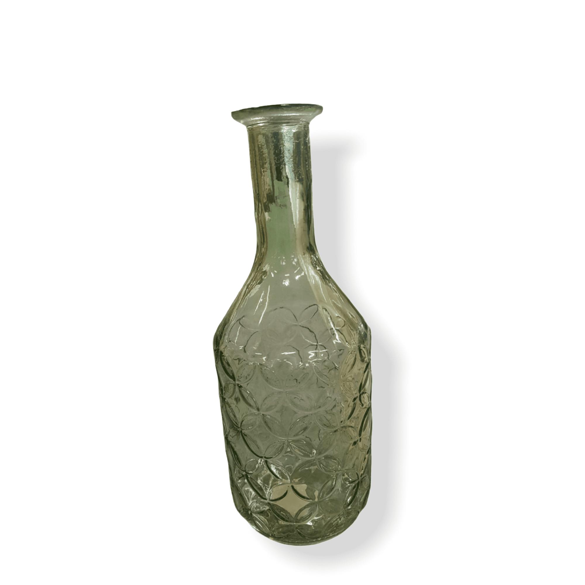 Glasvase grün mit Muster