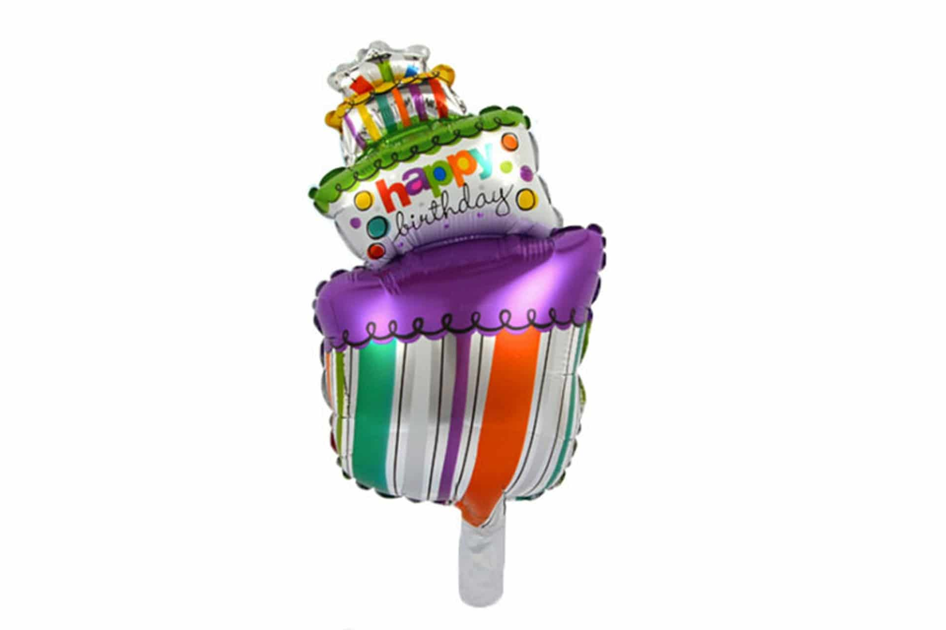 "Folienballon mit Stick ""Happy Birthday"" - Motiv: Torte"