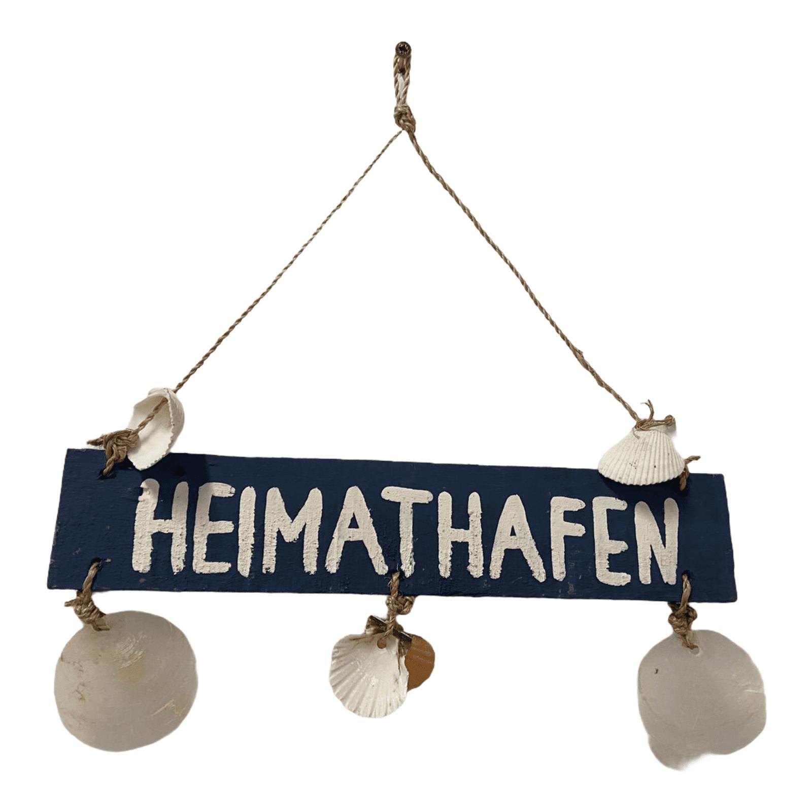 """Holzschild mit Muscheln """"Heimathafen"""""""